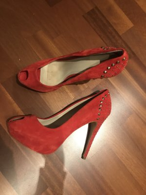 Zara High Heel Sandal red-gold-colored suede