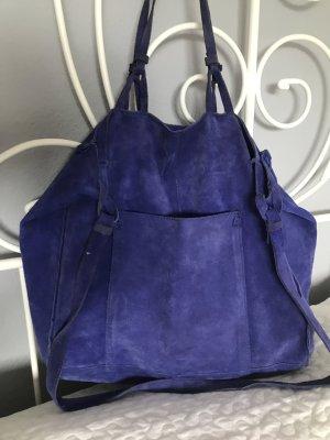 Zara Wildleder shopper Tasche blau