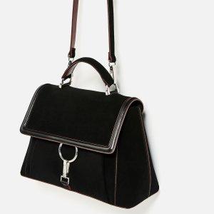 Zara Wildleder Umhängetasche Blogger Cosy Trend Clean Chic 70er minimalism