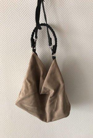 Zara Pouch Bag black-oatmeal suede