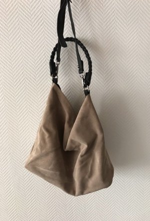 Zara Borsellino nero-beige chiaro Scamosciato