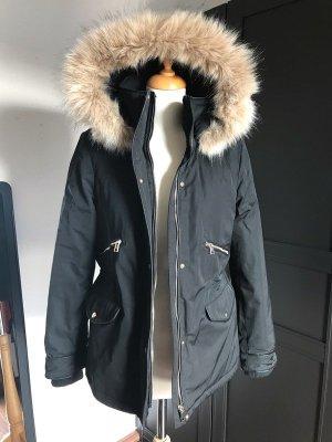Zara Winter Jacke Mantel mit Kunstfell Kapuze Schwarz XS 34 36