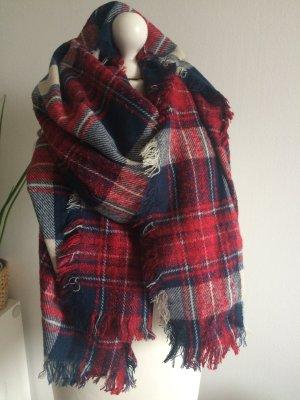 Zara Winter Schal Oversized Tuch Rot Blau Herbst
