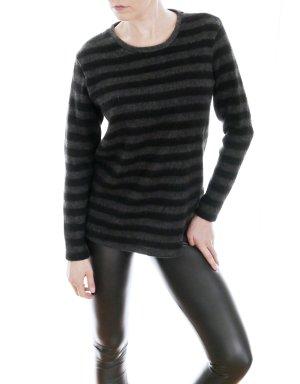 ZARA Winter Streifen Pullover schwarz-grau