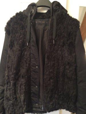 Zara Basic Chaqueta de piel negro