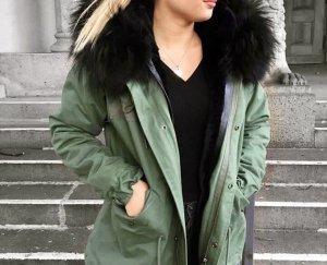 Zara Veste en fourrure kaki-gris vert