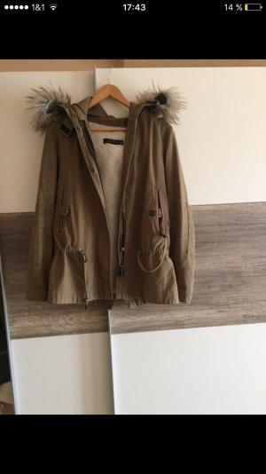Zara Winterjacke Khaki S