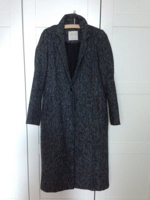 Zara Wintermantel Maximantel Long Wolle schmal Pfeffer&Salz