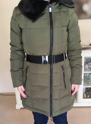Zara Winterjas zwart-khaki