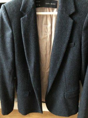 Zara Basic Wool Blazer dark blue-bordeaux