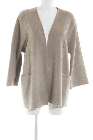 Zara Wollmantel creme-braun Allover-Druck Business-Look