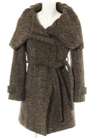 Zara Abrigo de lana marrón-negro Patrón de tejido look casual