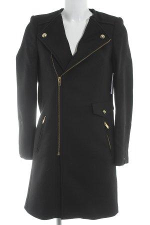 Zara Abrigo de lana negro estampado a rayas look casual