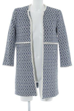 Zara Manteau en laine blanc cassé-bleu foncé motif embelli style mode des rues