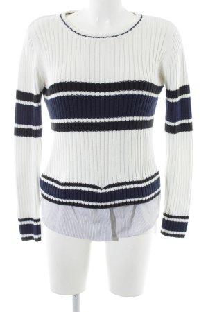 Zara Wollpullover weiß-neonblau Streifenmuster Casual-Look