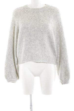 Zara Maglione di lana bianco-grigio chiaro puntinato stile casual