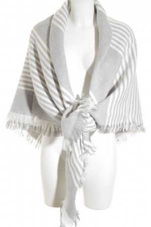 Zara Écharpe en laine blanc-gris clair motif rayé style décontracté