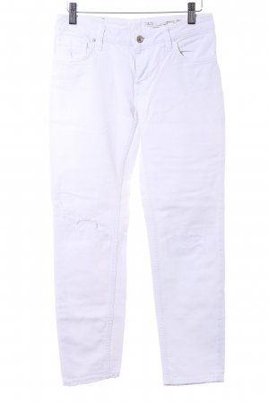 "Zara Woman Jeans 7/8 ""Medium Rise Relaxed Fit"" blanc"