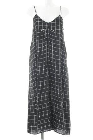 Zara Woman A-Linien Kleid grau-weiß Karomuster Street-Fashion-Look