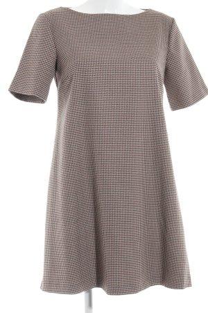 Zara Woman A-Linien Kleid hellbraun-bordeauxrot Hahnentrittmuster Business-Look