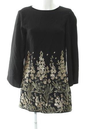 Zara Woman A-Linien Kleid schwarz-goldfarben abstraktes Muster Elegant