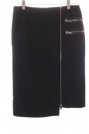 Zara Woman Asymmetrie-Rock schwarz-silberfarben Street-Fashion-Look