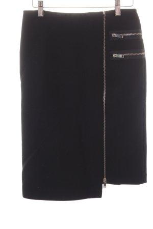 Zara Woman Asymmetrie-Rock schwarz-silberfarben Street-Fashion-Look