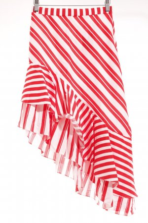 Zara Woman Asymmetrie-Rock weiß-rot Streifenmuster Casual-Look