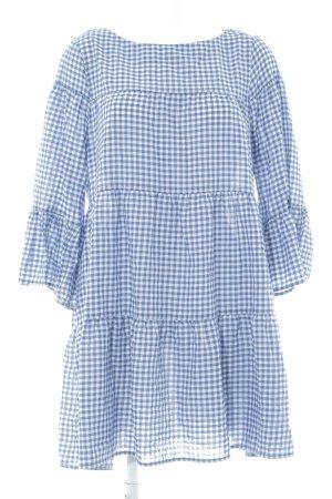Zara Woman Babydollkleid blau-weiß Vichykaromuster Casual-Look
