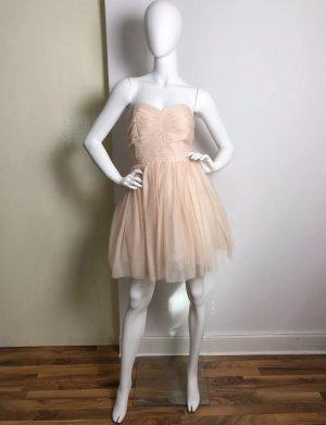 Zara Woman Vestido bustier rosa empolvado