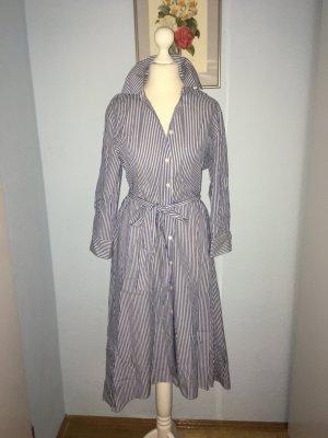 Zara Woman Hemdblousejurk staalblauw-wit