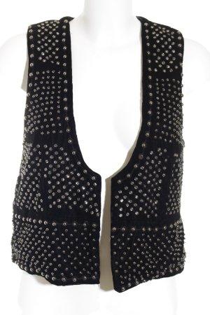 Zara Woman Bikerweste schwarz-silberfarben Biker-Look