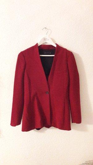 Zara Woman Blazer Chiffoncrepe Crepe Stoff Rot taillierte Jacke M