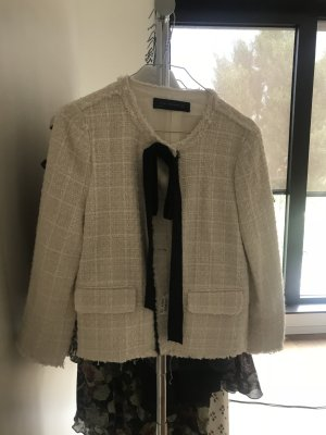 Zara Woman Blazer Jacke weiß schwarze Schleife Größe M 36 ausverkauft Chanel Style