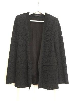 Zara Woman Blazer lungo nero Tessuto misto