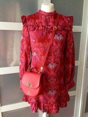 Zara Woman Bloggerkleid Rot M 38 Seide Blumen