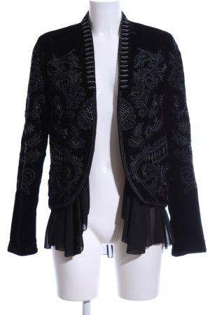 Zara Woman Blouson schwarz-silberfarben Ornamentenmuster Party-Look