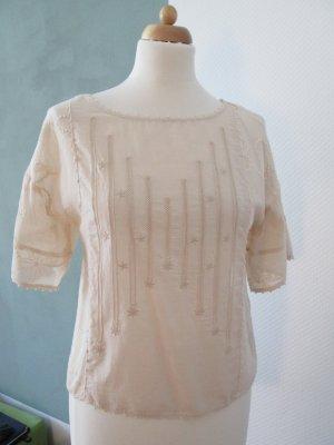 Zara Woman Bluse Baumwolle/Seide mit Stickereien Gr. xs/s