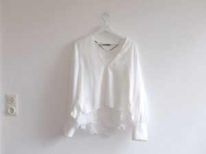 Zara Woman Bluse Gr. L 40 weiß Spitze V-Ausschnitt Layer