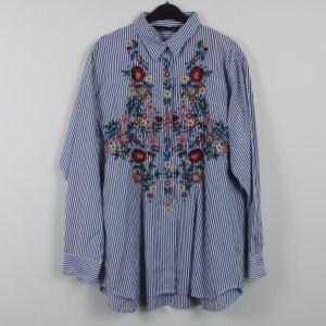 Zara Woman Oversized blouse wit-staalblauw