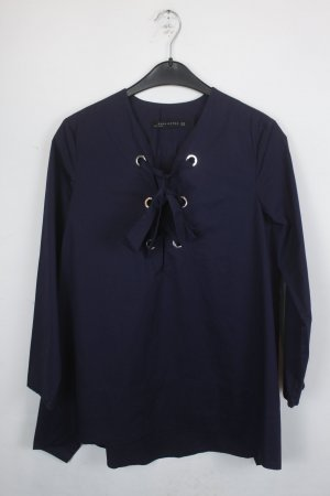 Zara Woman Oversized blouse donkerblauw Katoen