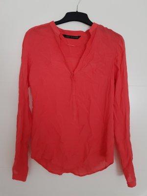 Zara Woman Bluse Korall V-Ausschnitt