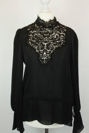 Zara Woman Bluse Seidenbluse Gr. XS schwarz mit Spitze