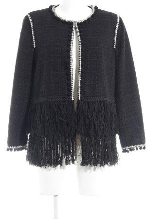 Zara Woman Blusenjacke schwarz-weiß Vintage-Look