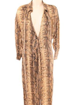 Zara Woman Abito blusa marrone-color carne motivo animale stile casual