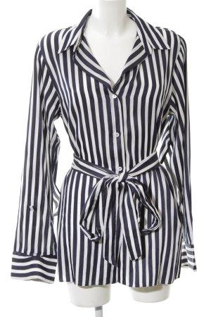 Zara Woman Blousejurk donkerblauw-wolwit gestreept patroon elegant