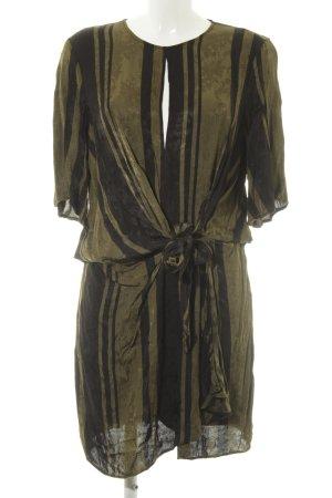 Zara Woman Blusenkleid schwarz-olivgrün florales Muster Casual-Look