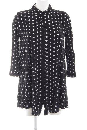 Zara Woman Blusenkleid schwarz-wollweiß Punktemuster Casual-Look