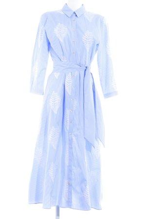 Zara Woman Blusenkleid weiß-kornblumenblau Streifenmuster Casual-Look