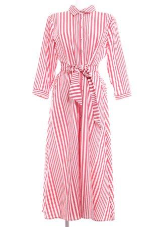 Zara Woman Blusenkleid weiß-rot Streifenmuster Bleached-Optik